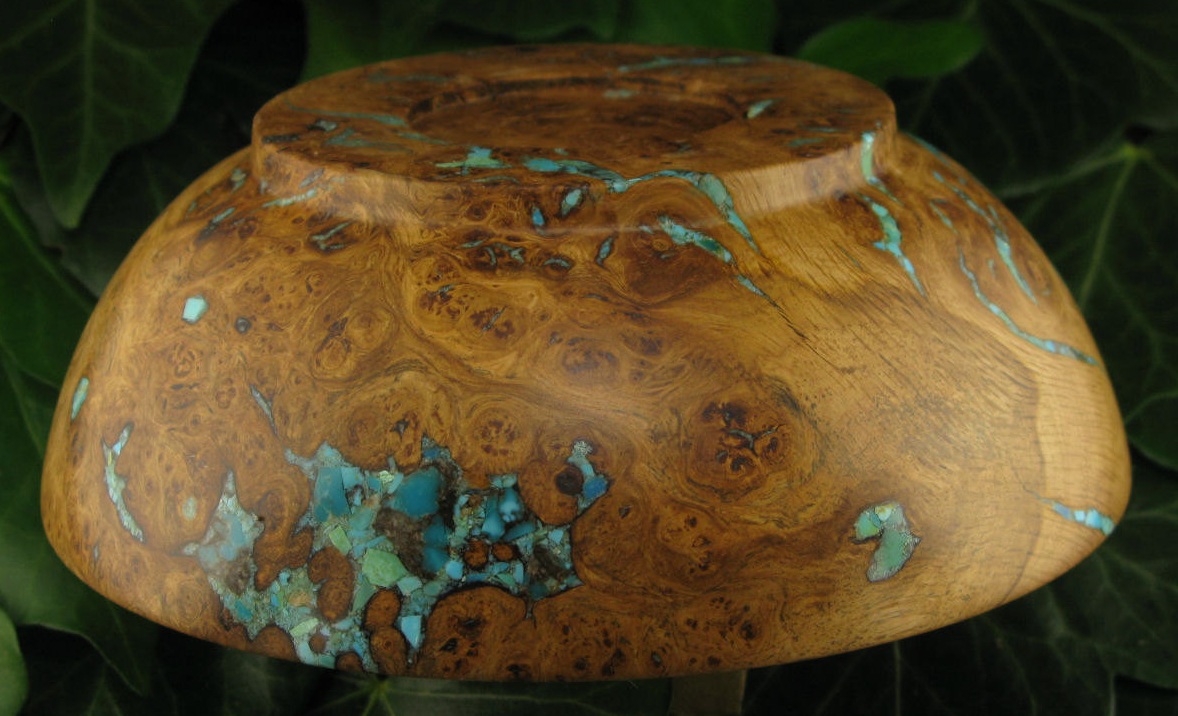 Oak and Turquoise Bowl